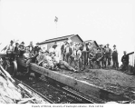 Logging and mess hall crews and skeleton car on incline, White Star Lumber Company, Whites, n.d.