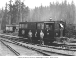 Crew with Mack speeder no. 25 with bell, Weyerhaeuser Timber Company, ca. 1942