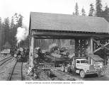 Crew and guests with electric transfer log loader, skeleton railroad cars, and truck, Schafer...