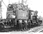 Crew with Schafer Brothers Logging Company two-truck Shay locomotive no. 4, n.d.