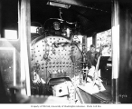 Engineer and interior of locomotive cab, Snoqualmie Falls Lumber Company, n.d.