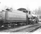 Crew with Snoqualmie Falls Lumber Company's 2-8-2 Baldwin locomotive no. 2, n.d.