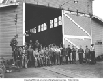 Crew at locomotive shops, Snoqualmie Falls Lumber Company, ca. 1921