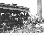 Logging crew with electric donkey engine, ca. 1922