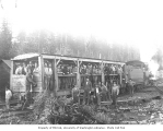 Crew train and locomotive, Snoqualmie Falls Lumber Company, n.d.