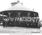 Members of Snoqualmie Commercial Club beside Snoqualmie Railroad Station, October 19, 1921