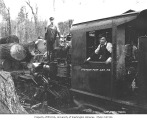 Crew with Stetson and Post Lumber Company's two-truck Climax locomotive no. 2 and log train, Maple...