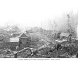 Railroad logging camp no. 7 showing family houses and diapers drying on clotheslines, as well as...
