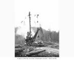 Donkey engine with crew on top of metal spar and standing on raised log hook over loaded railroad...
