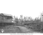 Railroad camp bunkhouses built on pilings, N and M Lumber Company, Rochester, ca. 1920