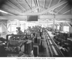 Interior view of Schafer Brothers Shingle Mill and workers, Montesano, n.d.