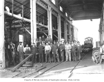 Crew at locomotive shop, Weyerhaeuser Timber Company, Vail, n.d.