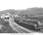 Loaded log flatcars at West Fork Logging Company headquarters in Mineral, ca. 1935