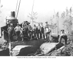 Logging crew and donkey engine, West Fork Logging Company, ca. 1935