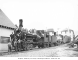 Crew with West Fork Logging Company locomotive nos. 75 and 91 at Mineral headquarters, ca. 1934