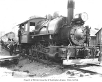 Crew with Wynooche Timber Company's 0-6-4 saddle-tank Baldwin locomotive no. 1 and log train,...