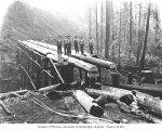 Construction crew with log trestle under construction, Wynooche Timber Company, ca. 1921