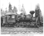 Crew and woman with Wynooche Timber Company's 0-6-4 saddle-tank Baldwin locomotive, Montesano, ca....