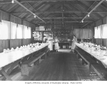 Interior of mess hall with crew, Wynooche Timber Company, Montesano, ca. 1921