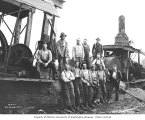 Logging crew and two donkey engines, Weyerhaeuser Timber Company, n.d.