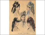 Hair styles and hats, ca. 1875