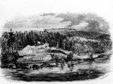Engraving of Fort Astoria, Oregon.