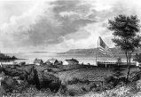 Fort Astoria and Fort George, at Astoria, Oregon, depicted about 1846 with an American flag flying.
