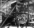 Fred J. Wiseman piloting the first airplane (biplane) to land at the first air show at Olympia,...