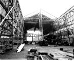Moran Brothers Co. shipyard, Seattle, in 1902, showing construction of battleship shed.