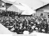Miners gathered to hear the story of the naval victory at Santiago read from the Seattle...