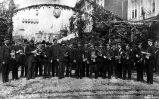 Band on 1st Ave. for arrival of Henry Villard, Seattle, Sept. 16, 1883.