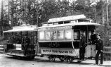 Grip car and trailer car of cable street railway, Seattle, late 1888.