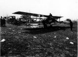 Curtiss biplanes and aviators at an unidentified golf course, Seattle vicinity, 1919.