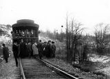 Group of men on observation car, Spokane, Portland & Seattle Ry. train at Lyle, hosted by...