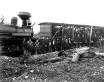 Logging crew at Landsburg, with Shay locomotive and crew car.