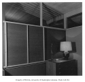 Miller residence interior showing bedroom wall, Mercer Island, 1956