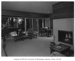 Richards residence interior showing living room and dining area, Bellevue, 1958