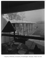 Giovanelli residence interior showing view of waterfront, Mercer Island, 1959
