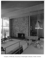 Burke residence interior showing fireplace, Seattle, 1956