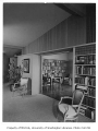 Burnett residence interior showing library, Seattle, 1952