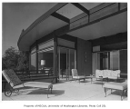 Weisfield residence exterior showing deck, Seattle, 1961