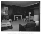 Overturf residence interior showing living room, Seattle, 1954