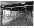 Chinook Junior High interior showing cafeteria, Seattle, 1958