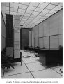 Japan Airlines office interior showing work space, Seattle, 1959