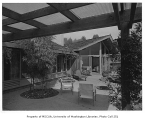Brown residence exterior showing patio, Seattle, 1952