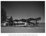 Crestview Elementary School exterior showing covered walkway, Seattle, 1960