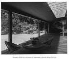 Moffett residence exterior showing patio, Seattle, 1954