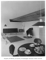 Giovanelli residence interior showing sitting and dining areas, Mercer Island, 1959