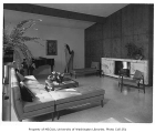 Rind residence interior showing living room, Bellevue, 1957