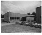 Clyde Hill Elementary School exterior showing landscaping, Bellevue, 1953